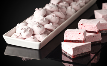 Marshmallow and raspberry pâte de fruit